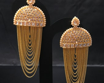 Indian Earrings - Indian Jewelry - Chandelier Earrings - Kundan Jewelry - Bollywood Earrings - Indian Bridal Wedding - Pakistani Bridal -