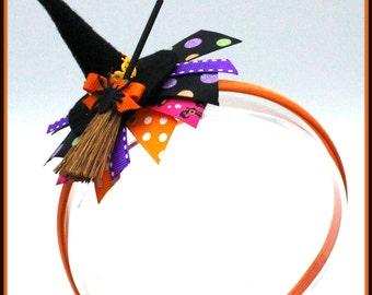 Mini Witch Hat Headband, Halloween Witch Hat,Halloween Witch Hat Headband Bow