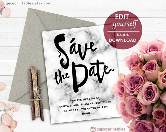 Marble save the date template wedding invitation template diy il570xn solutioingenieria Images