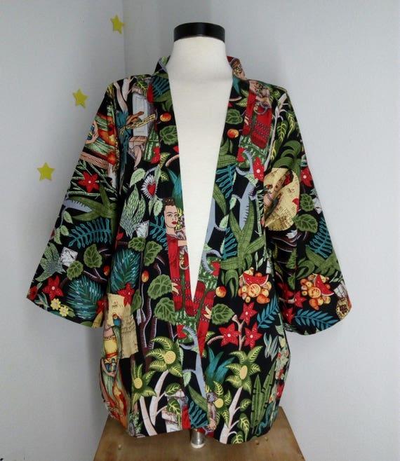 Frida Kahlo's Kimono Nature garden Mexico flowers fashion cotton robe clothes hCZtZSg