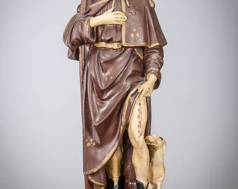 "RARE Stunning 18"" Antique Plaster Statue of Saint Roch St Rocco Figure Rock 2"