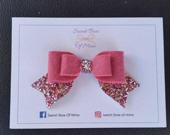 Medium Headband or Clip | Pink - English Rose - Tails Down Bow | Baby Headband, Girls Headband, Hair Bow, Hair Clip, Glitter Bow, Wool Felt