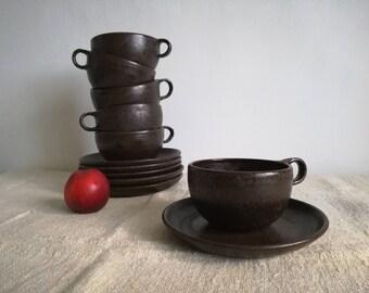 Soup mugs with plate, wabi-sabi style