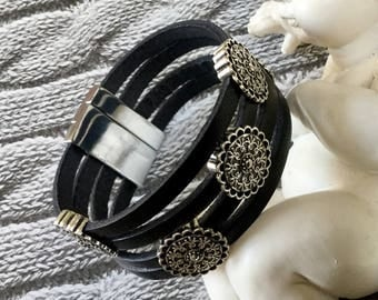 Black leather with four passes ethnic leather bracelet