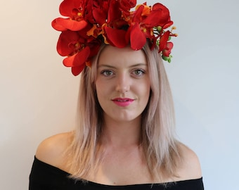 Red Orange Orchid Frida Flower Crown Headdress Festival Headpiece Fascinator