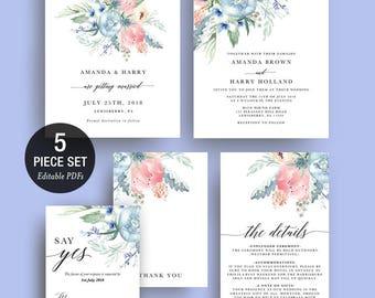 INSTANT DOWNLOAD Wedding Invitation Printable Template Set - Boho Blue Watercolor Floral