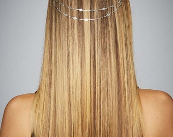 Fashion Hair Accessories Festival Party Occasion Hair Chain Silver Diamond Shape