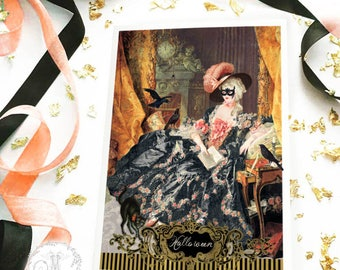 Halloween card, Marie Antoinette masquerade ball with crows, Rococo, Baroque, holiday card, blank inside