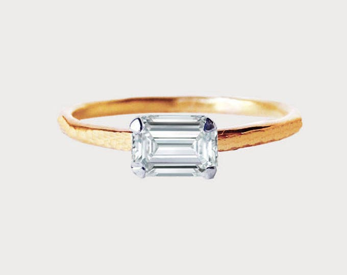 Forever Yours_ 14K Rose Gold Emerald Diamond Engagement Ring
