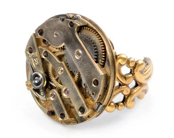 Steampunk Antique Brass Watch Movement Adjustable Ring