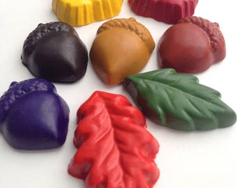 Kids Gift, Stocking Stuffer, CRAYONS, Eco Friendly, Acorn & Leaves SOY CRAYONS, Gift for Kids, Natural Toy, Handmade Crayons, Holiday Gift