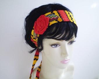 Red Yellow Boho Headband, Red Yellow Boho Headband Tie, Boho Headband Tie, Bohemian Headband, Hispanic Headband