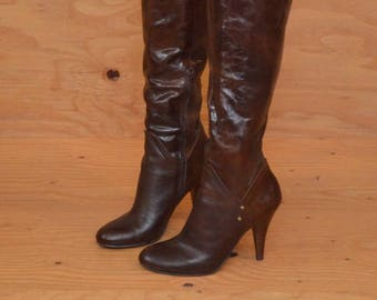 Vintage 90's Brown Knee High Dark Brown Leather Boots With Gold Studs High Heel Rounded Toe, SZ 9