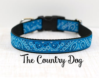 "Blue Bandana Dog Collar, Bandana Dog Collar, Blue Bandana Collar, Country Dog Collar, Buckle Collar, Martingale Collar, 1"" Wide"