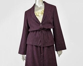 SALE - VTG 70s Suit 1970s Plum Purple Wool Suit Bell Sleeve Peplum Waist Wool Blazer Jacket and High Waist Button Up Midi Skirt Suit Set M