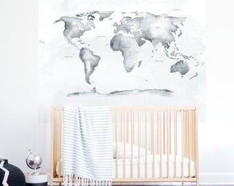Watercolor World Map Mural Decal, Soft Gray Wallpaper, Kids Wallpaper, Map, Wall sticker, Self-Adhesive Wallpaper. World Map Mural