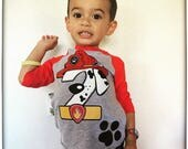 Custom Firefighter Dog birthday shirt RED RAGLAN Marshall Birthday Shirt Paw Patrol Birthday Shirt with Name on Back