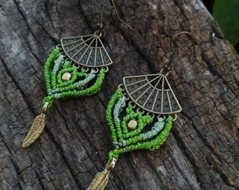 Green forest boho macrame earrings. Tribal hippie earrings. Handmade macrame jewerly by Bella Marietta
