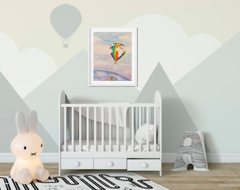 Hot Air Balloon Nursery Decor Adventure themed nursery decor Hot Air balloon art print Up up and Away Around the World in a Hot Air Balloon
