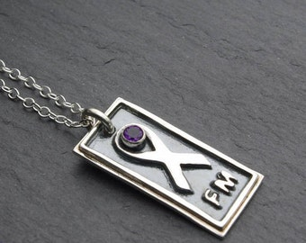 fibromyalgia awareness necklace - handcrafted fine silver and amethyst pendant