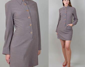 1990's retro Gingham Checkered Shirtdress long sleeve mod mini dress