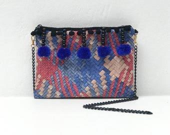 Red Blue Tone PomPom Chain Shoulder Bag With Black Chain Shoulder Strap, Small Evening Bag, Chain Strap bag, Womens Shoulder Bag