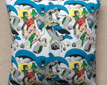 Vintage Fabric Cushion Batman And Robin 40cmx40cm