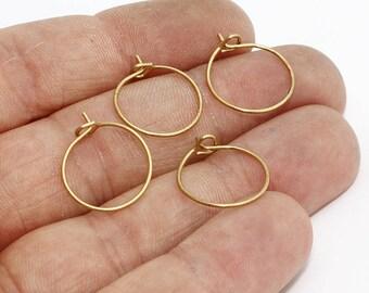 15mm Raw Brass Earring Hoops , Circle earrings, Raw Brass Ear Hoop , CHK147
