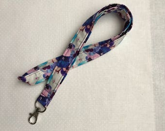 Purple Pink and Blue Floral Lanyard