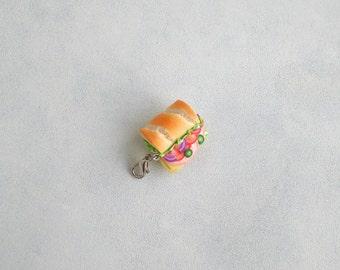 Sandwich pendant Sub sandwich Sandwich charm Miniature food jewelry Breakfast jewelry Foodie gift Fake food Inedible jewelry Food charms