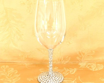 Clear Rhinestone Covered Wine Glasses, Wedding Toasting Glasses, Shower, Holiday Wine Glasses, Bling Wine Glasses, Price is For One Glass