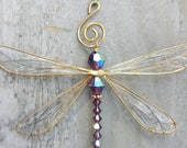 Sun Catcher Dragonfly, Car Charm Dragonfly, Dragonfly Ornament, Garden Decor,  Handcrafted Window Hanging, Forget Me Not
