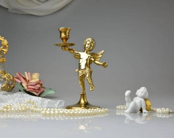 Vintage Brass Cherub Candle Holder Gold Tone Solid Brass Winged Angel Candlestick Holder Victorian Romantic Home Decor Shabby Chic Cottage