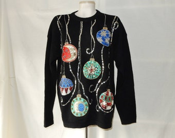 """Sz L XL Xmas Wool Angora Cedars Pullover - Jewels Appliques Sequins Beads & Gold Embroidery - """"Ugly"""" Christmas Sweater - Size 12 14"""