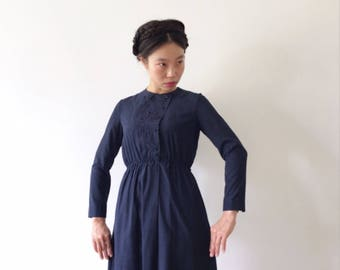 Around midnight, blue Japanese vintage dress, xs