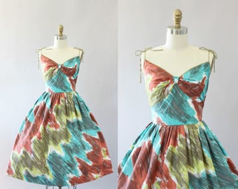 Vintage 50s Dress/ 1950s Cotton Dress/ Maroon and Turquoise Abstract Print Cotton Spaghetti Strap Dress XS