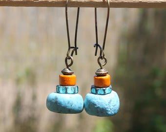 Blue earrings Boho Earrings Bohemian Earrings Jewelry Dangle drop Ethnic Earrings Gift Ideas Gift for her