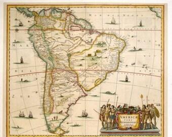 old map of South America Cross Stitch Pattern old map pattern cross stitch - 496 x 420 stitches - INSTANT Download - B278