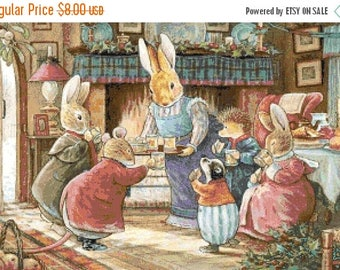 A lovely family of rabbits Cross Stitch Pattern Pdf oint de croix embroidery - 327 x 216 stitches - INSTANT Download - B1328