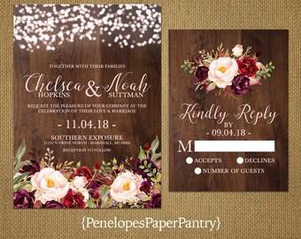 Rustic Fall Wedding Invitation,Burgundy,Marsala,Blush,Fairy Lights,Barn Wood