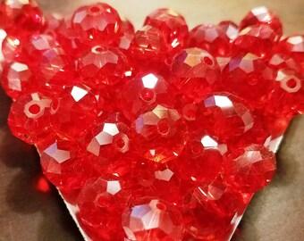 Preciosa Bellatrix Rondelle Bead - Faceted Crystal 10mm - Light Siam / Red