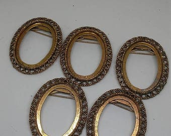 Winter Sale 5 Vintage Costume Jewelry Brooches
