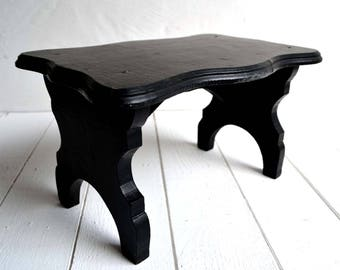 French Antique Black Wooden Foot Stool Footstool Painted Furniture Small Display Stand
