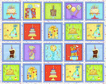 Let's Celebrate Party Boxes fabric panel by Beth Logan for Henry Glass Fabrics #1071-1