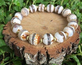 Dorothy Bracelet- Tibetan Agate(10mm) - Oliver Grey Jewelry - Stacking Bracelet - Gemstone Bracelet - Natural Agate Bracelet