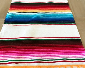Mexican Serape table runner, Southwestern decor, tribal party decor, Fiesta decorations, striped rainbow white, pompoms OPTIONAL