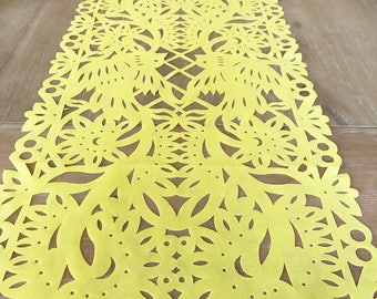 Papel picado table runner, Mexican yellow synthetic fabric, fiesta party decorations, party supplies, table topper, talavera lace designvvg