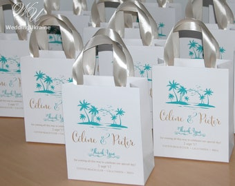 20 Beach Wedding Thank You Bags With Satin Ribbon And Your Names
