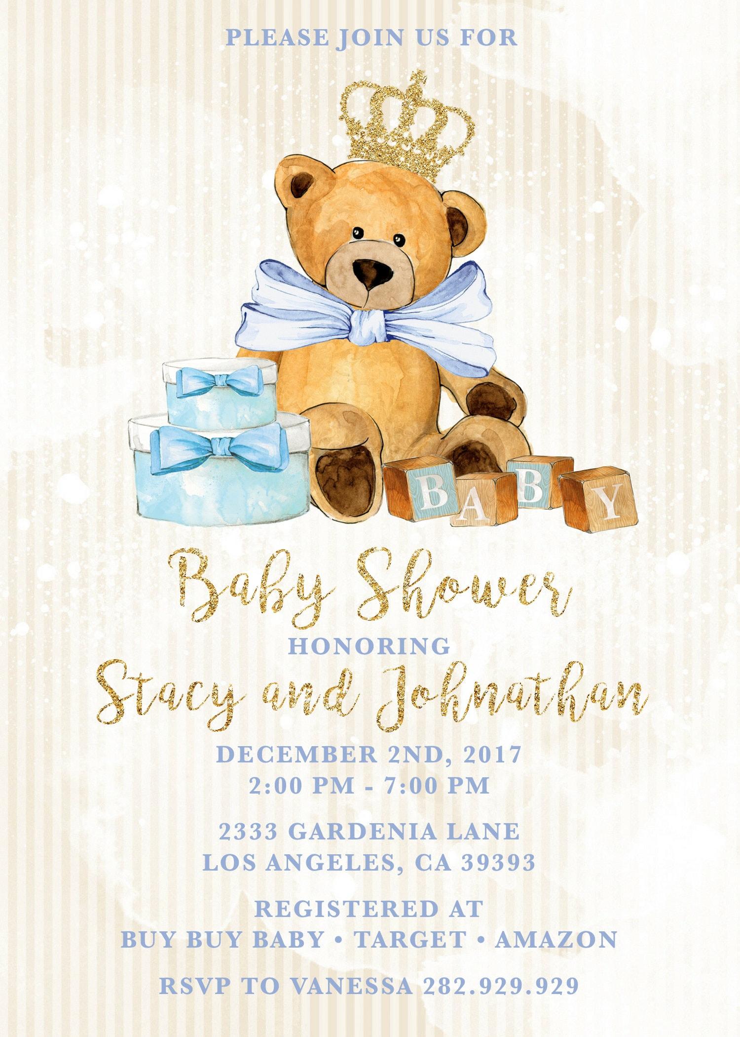 Royal Teddy Bear Baby Shower Teddy Bear Invitation Blue And Gold