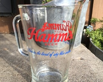 Vintage Hamm's Beer Pitcher Retro Glass Man Cave Advertising Barware Drinkware Hamms Collectibles Mancave Bar Beer Pitcher Mint Condition
